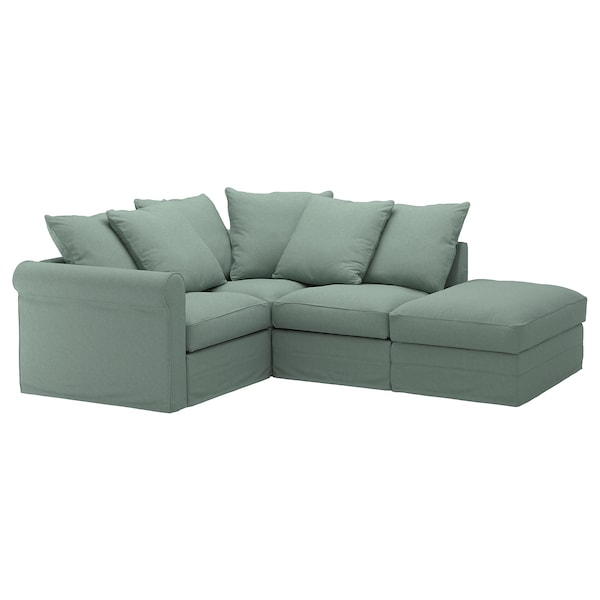 GRÖNLID Cover for corner sofa, 3-seat, with open end/Tallmyra light green