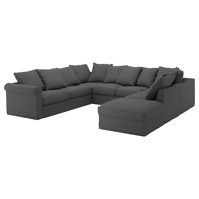 GRÖNLID U-shaped sofa, 6 seat, with open end/Tallmyra medium grey