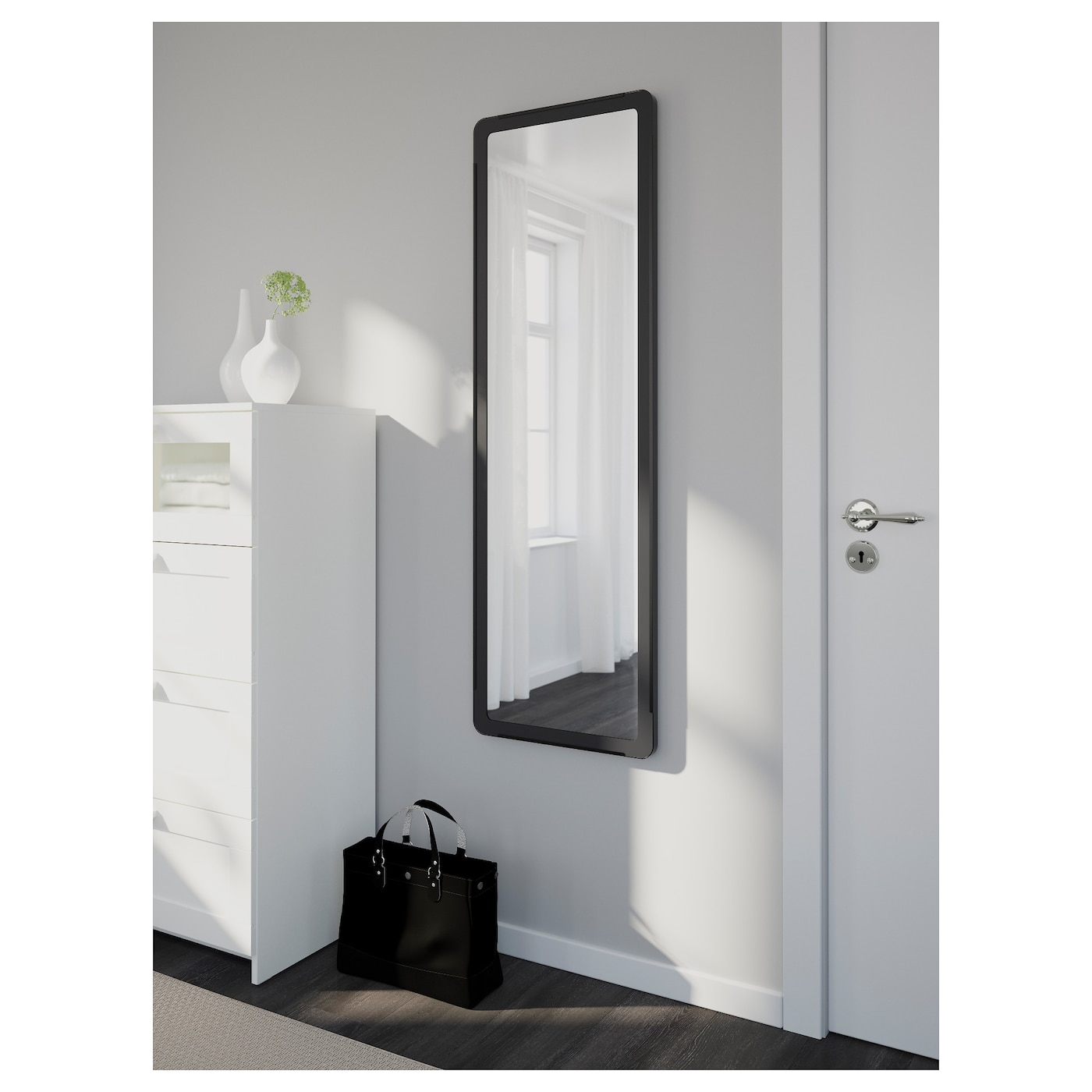 Grua mirror black 45x140 cm ikea for Miroir ikea noir