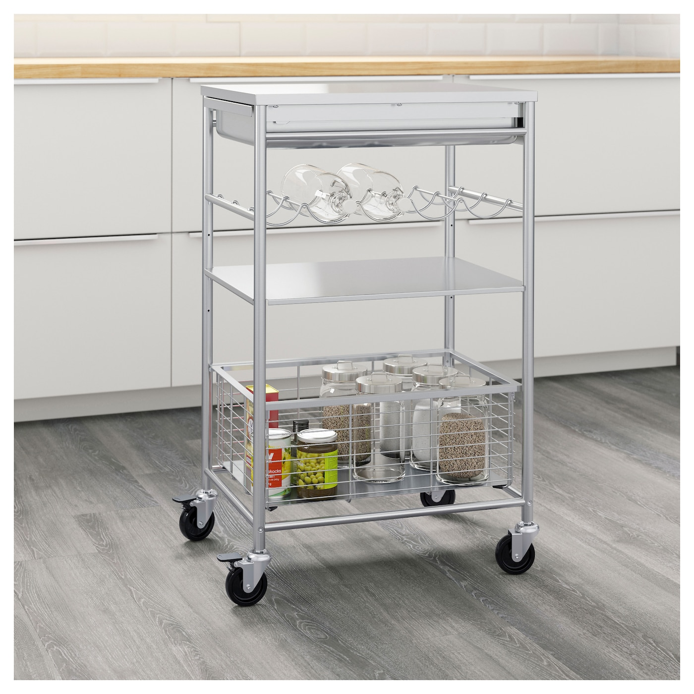 kitchen trolleys and islands grundtal kitchen trolley stainless steel 54 x 41 x 90 cm 20136