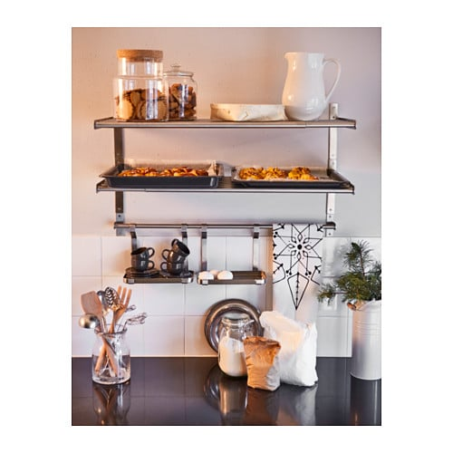 grundtal wall shelf stainless steel 80 cm ikea. Black Bedroom Furniture Sets. Home Design Ideas