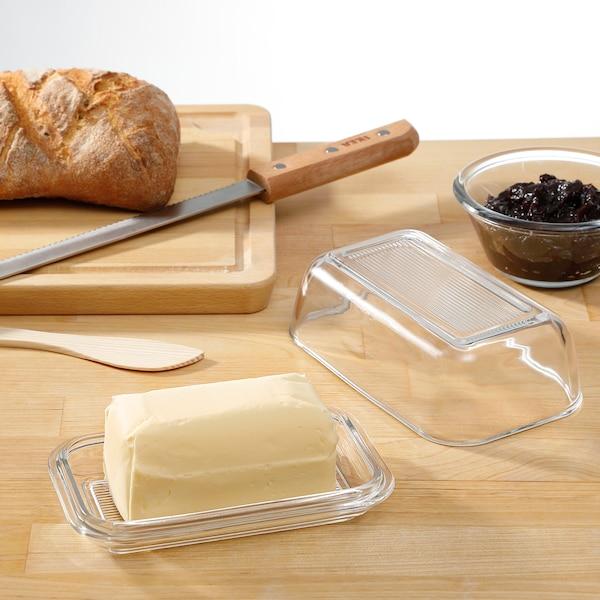 GRYNSOPP Butter dish, clear glass