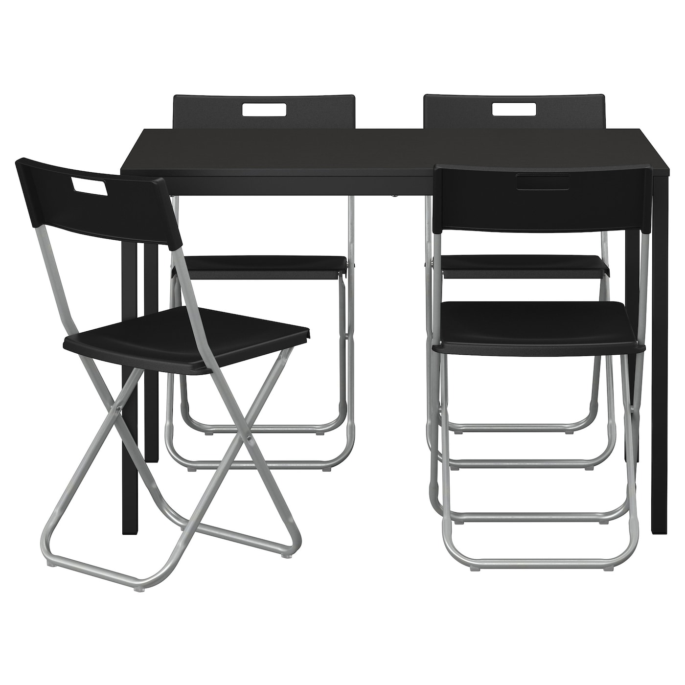 "GUNDE T""REND– Table and 4 chairs Black 110 cm IKEA"