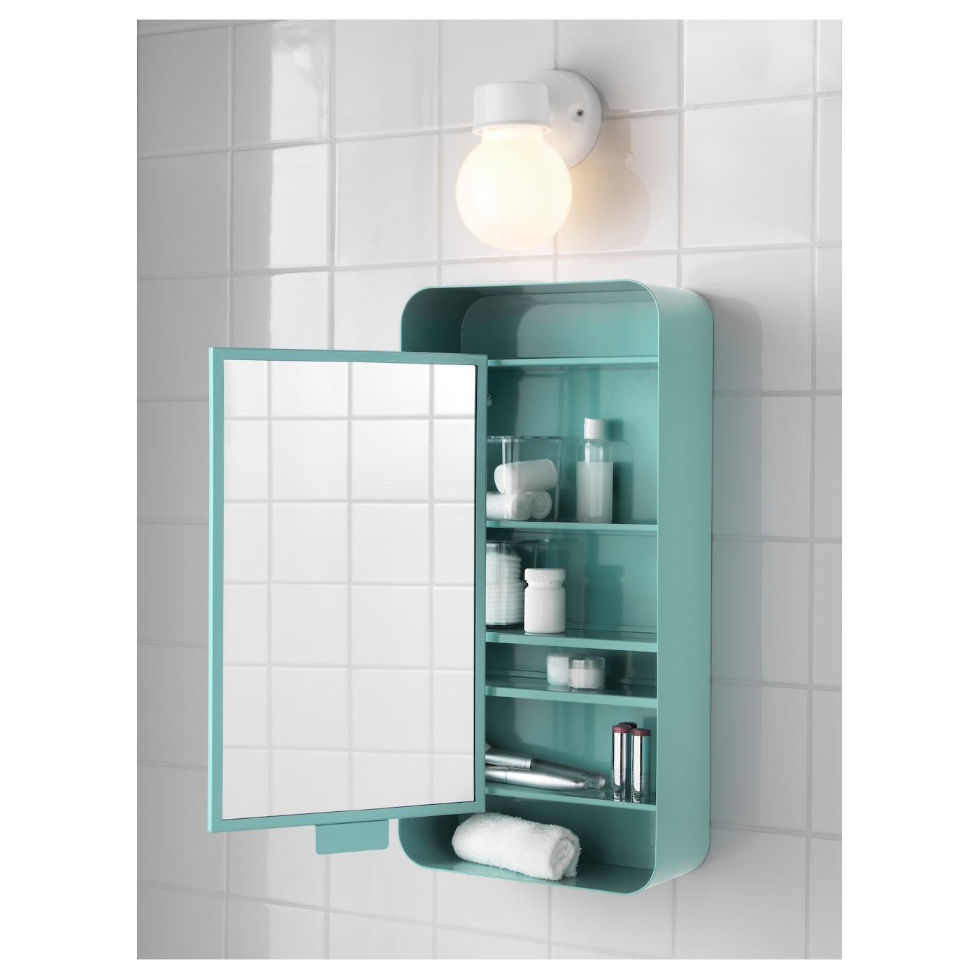 Gunnern mirror cabinet with 1 door turquoise 31x62 cm ikea for Ikea turquoise shelf