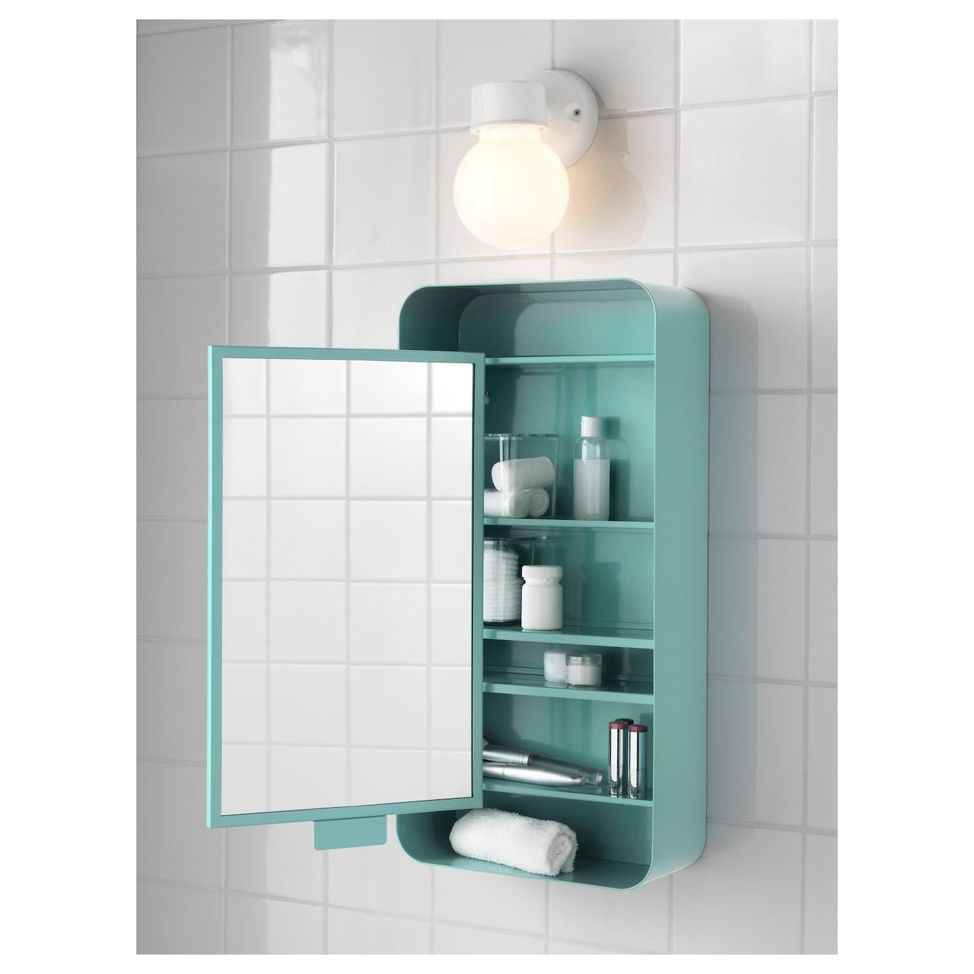 Gunnern Mirror Cabinet With 1 Door Turquoise 31x62 Cm Ikea