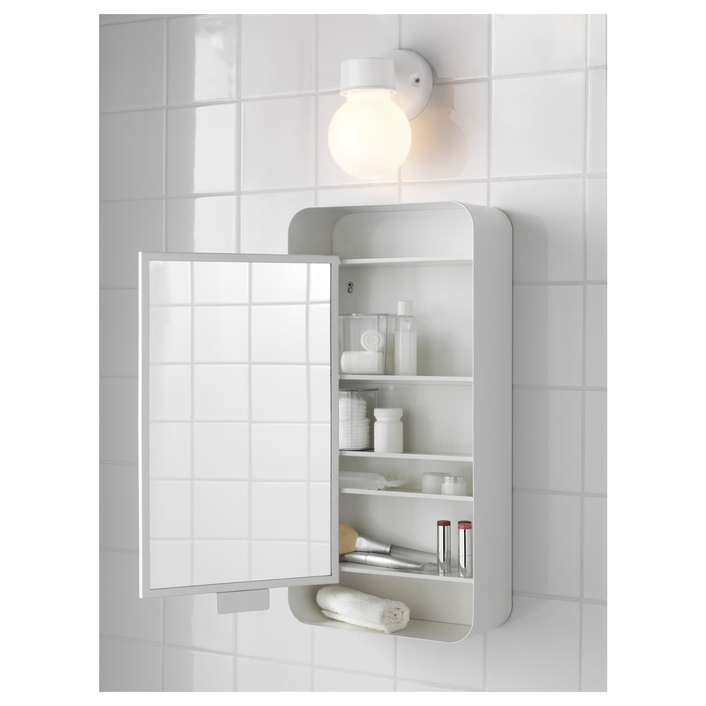 Gunnern mirror cabinet with 1 door white 31x62 cm ikea for Bathroom mirror cupboard