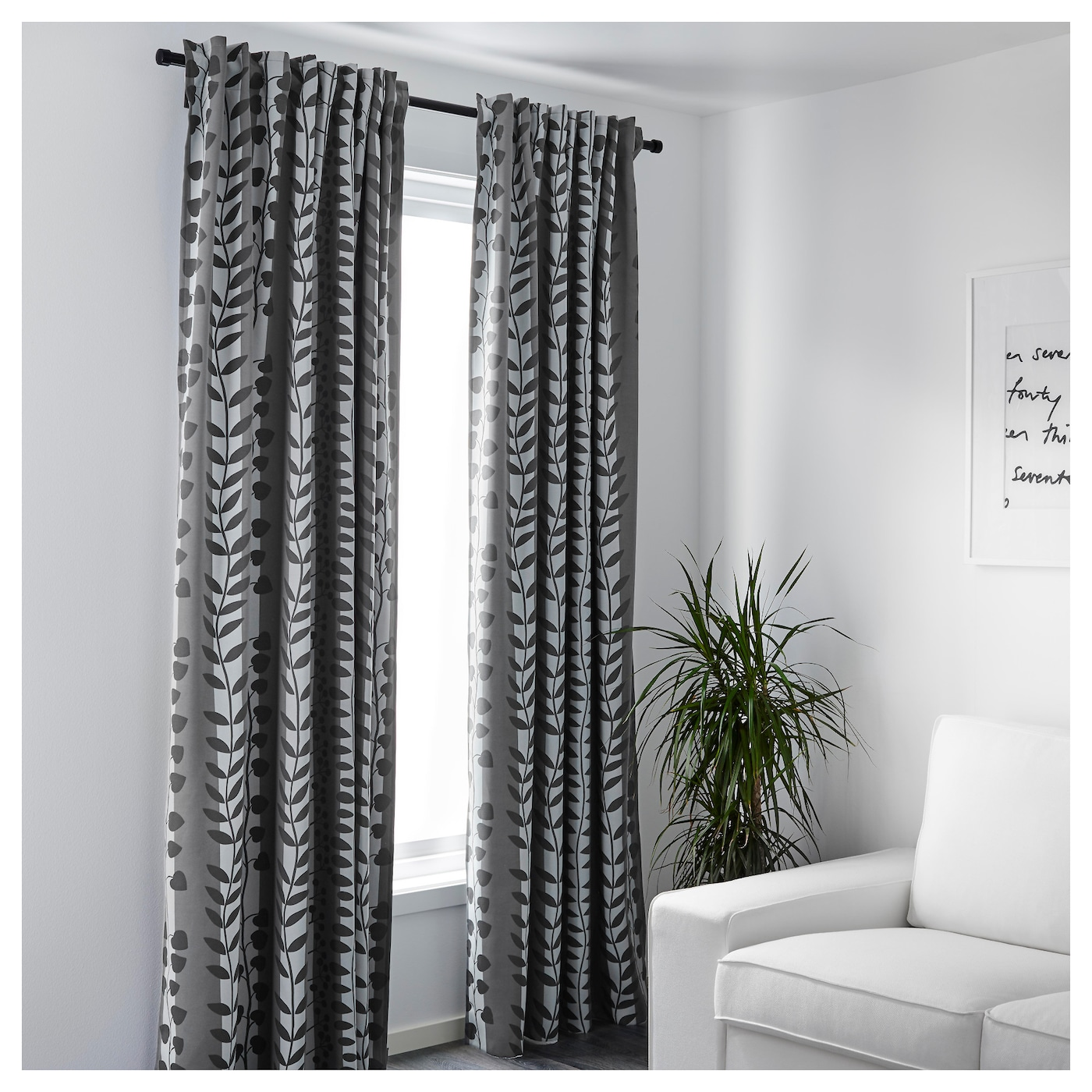 gunni block out curtains 1 pair grey 145x300 cm ikea. Black Bedroom Furniture Sets. Home Design Ideas
