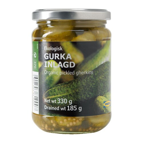 GURKA INLAGD Pickled gherkins, sliced IKEA Organic; includes no artificial ingredients or preservatives.