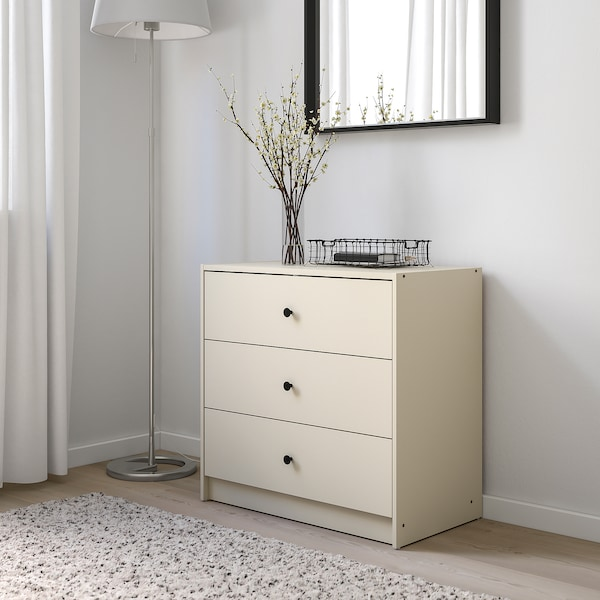 GURSKEN Chest of 3 drawers, light beige, 69x67 cm