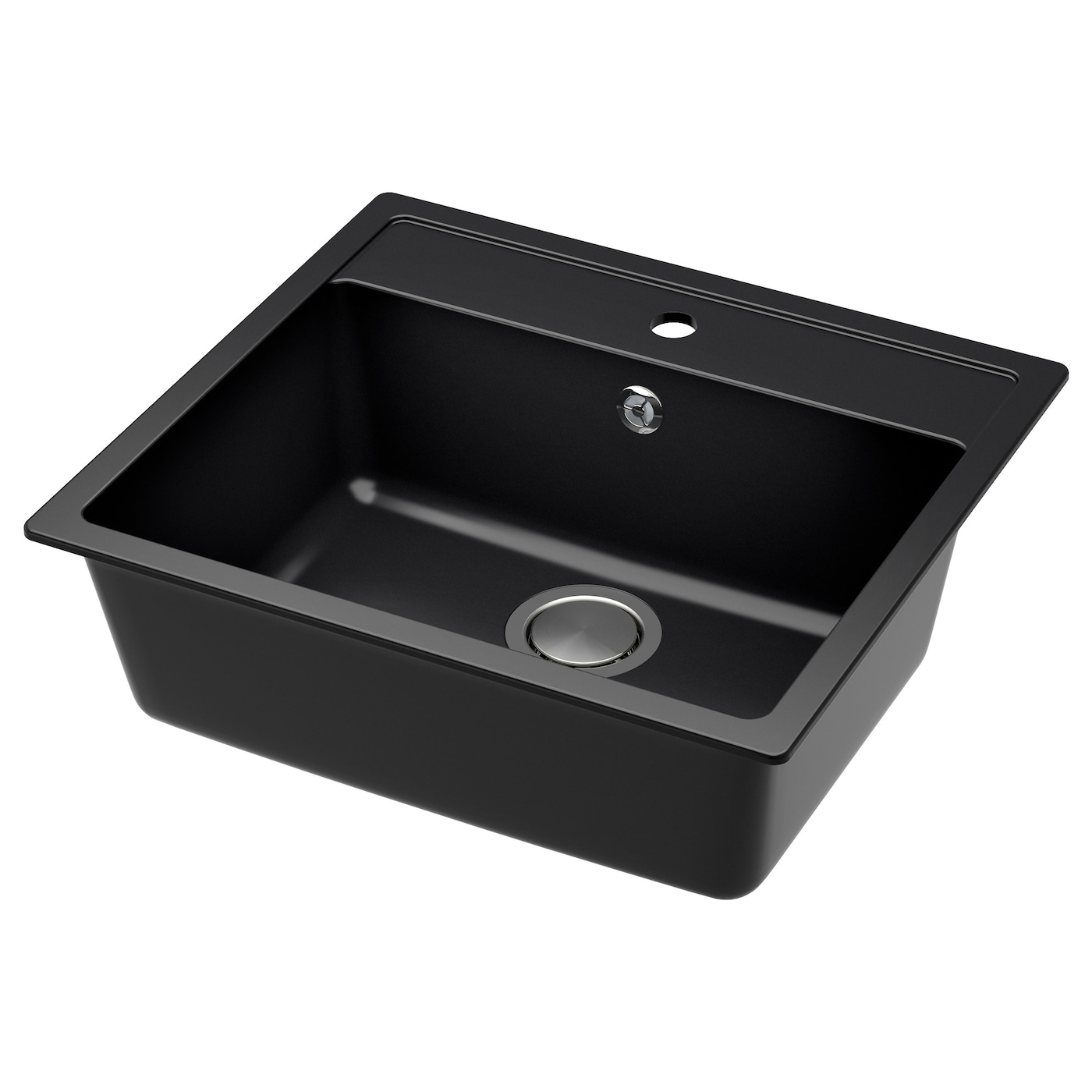 black kitchen sink h 196 llviken inset sink 1 bowl black quartz composite 56x50 1696