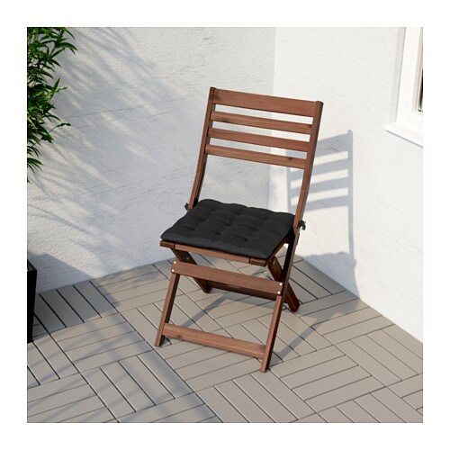 hÅllÖ chair cushion outdoor black 40 x 40 cm ikea