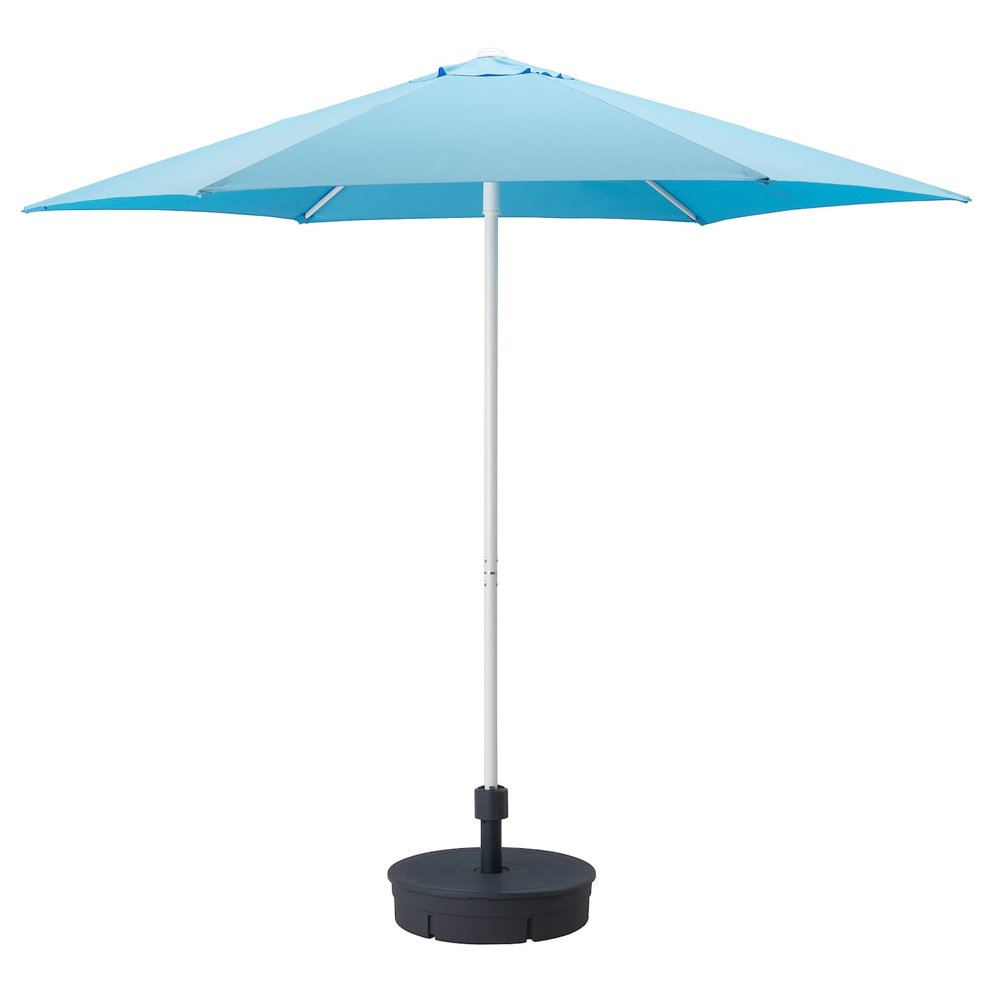 IKEA HÖGÖN parasol with base The air vent reduces wind pressure and allows heat to circulate.