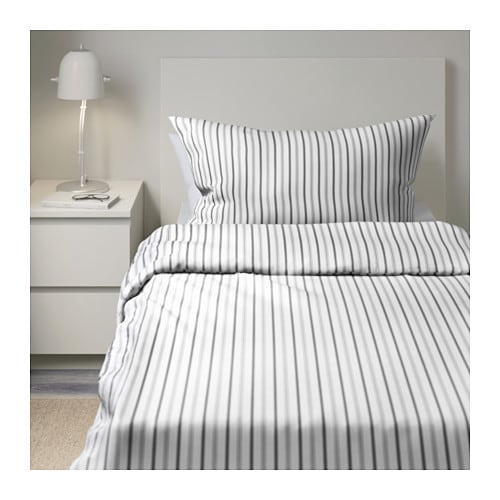h st ga quilt cover and 2 pillowcases striped grey 150x200 50x80 cm ikea. Black Bedroom Furniture Sets. Home Design Ideas