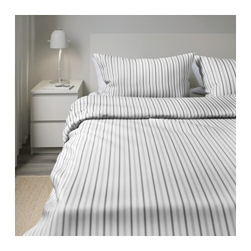 H st ga quilt cover and 4 pillowcases striped grey 200x200 for Lit 200x200 ikea