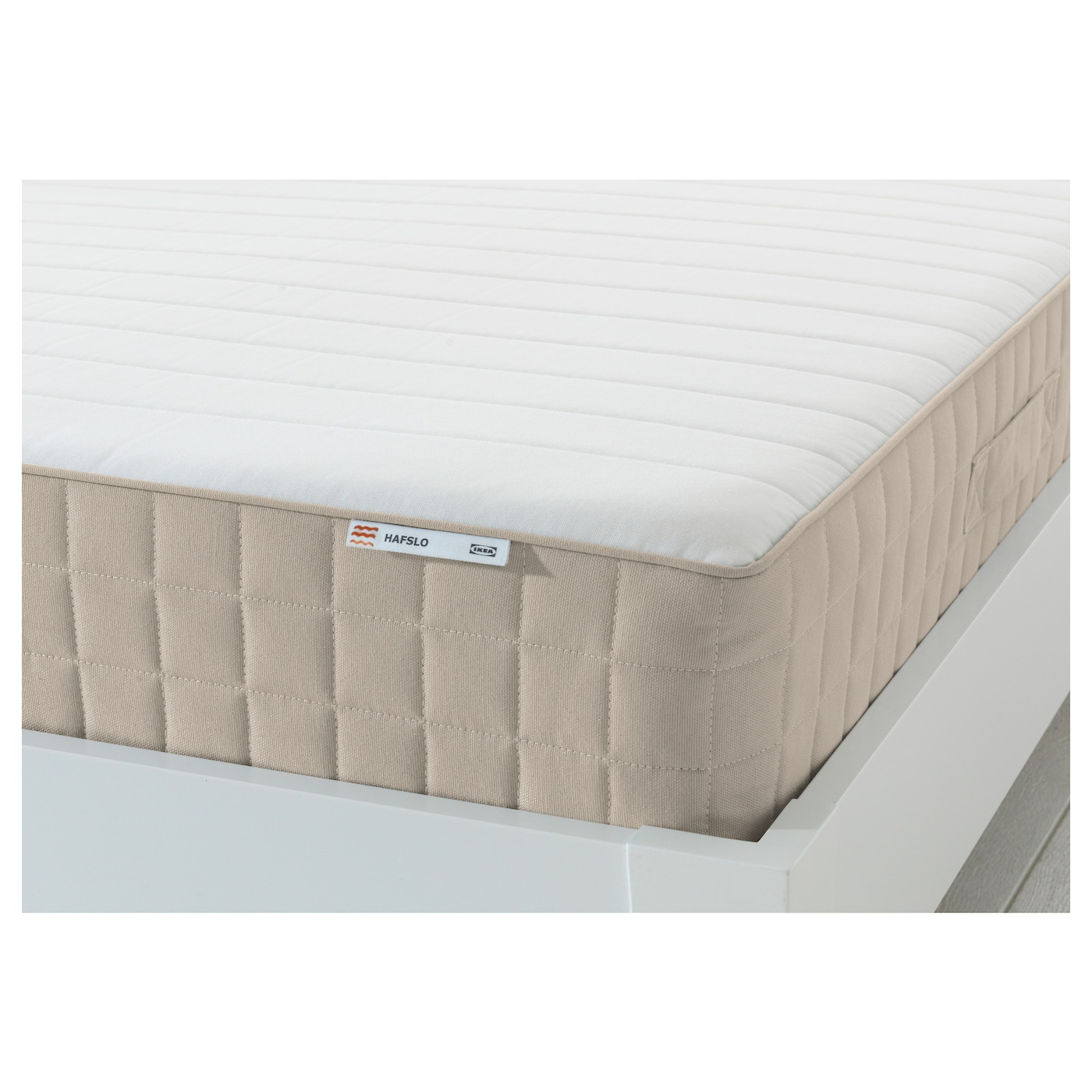 IKEA HAFSLO sprung mattress Designed to be used on one side only – no need to turn.