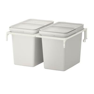 HÅLLBAR Waste sorting solution, for METOD kitchen drawer/light grey, 44 l