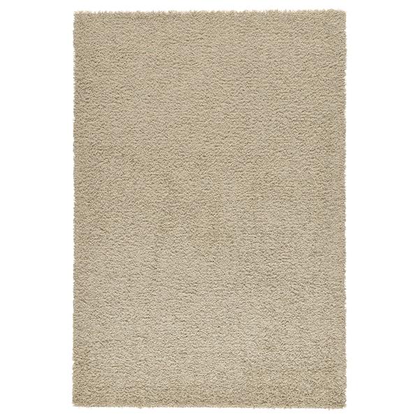 HAMPEN Rug, high pile, beige, 133x195 cm