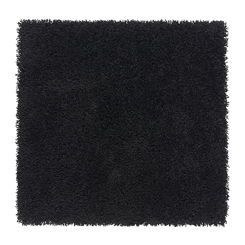 Hampen Rug High Pile Black 80 X 80 Cm Ikea