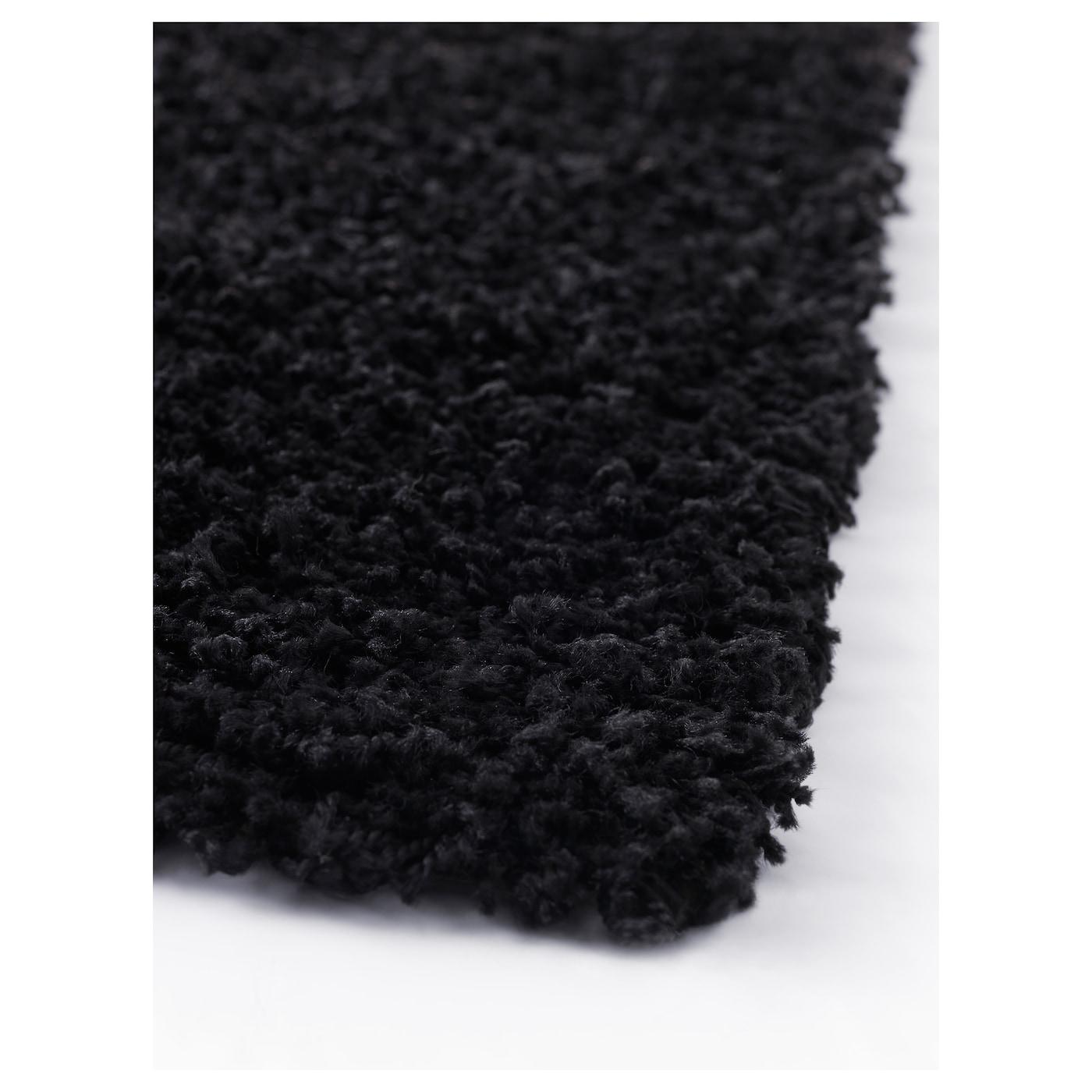 Hampen Rug High Pile Black 80x80 Cm Ikea