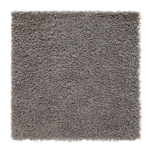Hampen rug high pile grey 80x80 cm ikea for Outdoor teppich ikea