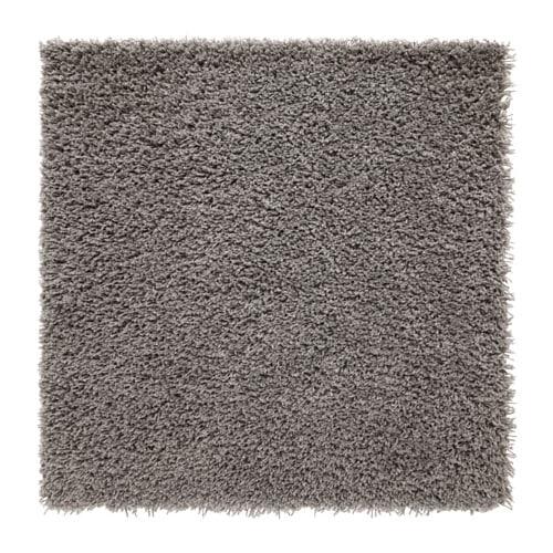 Hampen rug high pile grey 80 x 80 cm ikea for Grey rug ikea