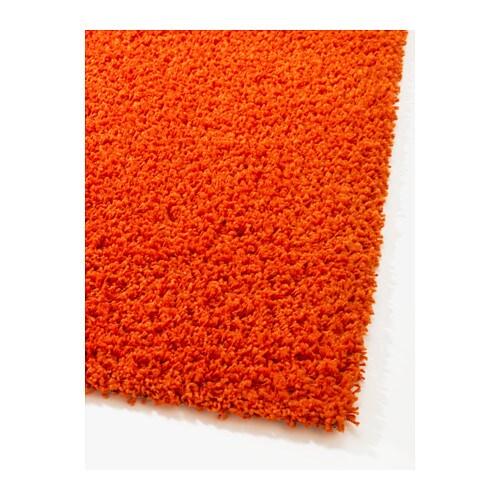 Hampen rug high pile orange cm ikea