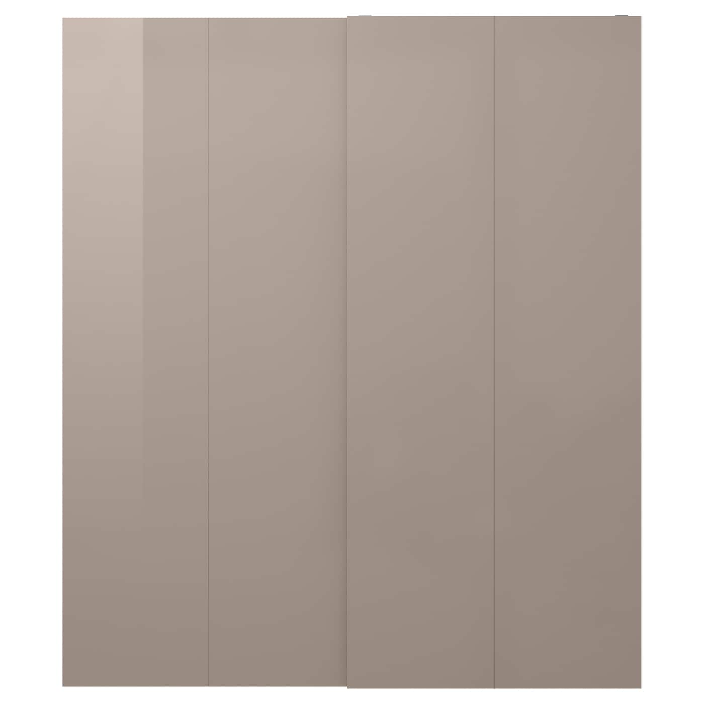 hasvik pair of sliding doors high gloss dark beige 200x236