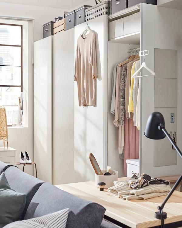 HASVIK Pair of sliding doors, white, 150x201 cm