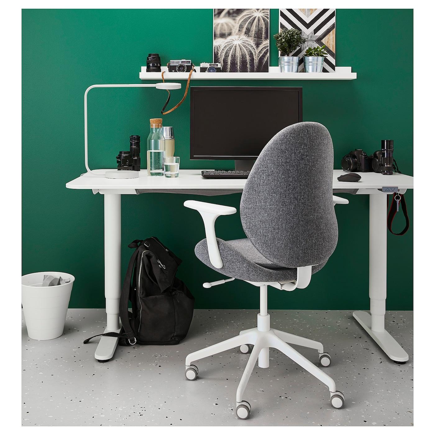 HATTEFJÄLL Office chair with armrests - Gunnared medium grey/white
