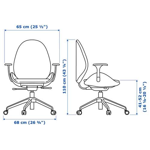 HATTEFJÄLL Gunnared medium grey, white, Office chair with