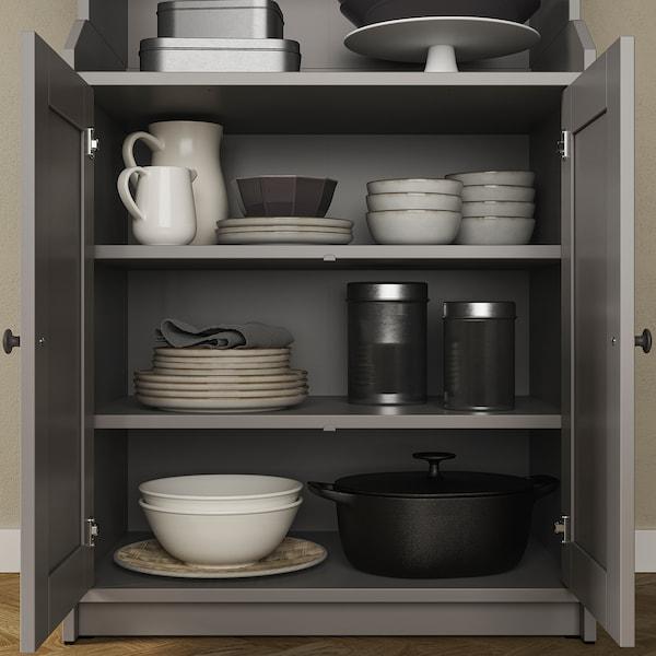 HAUGA Cabinet with 2 doors, grey, 70x116 cm