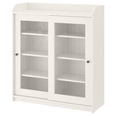 HAUGA Glass-door cabinet, white, 105x116 cm
