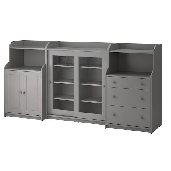 HAUGA Storage combination, grey, 244x46x116 cm