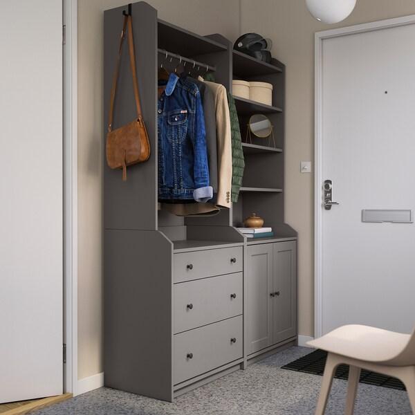 HAUGA Storage combination, grey, 139x46x199 cm
