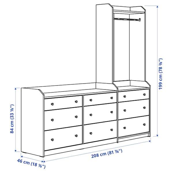 HAUGA Storage combination, grey, 208x199 cm