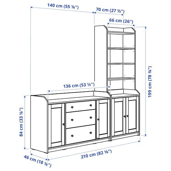 HAUGA Storage combination, white, 210x46x199 cm