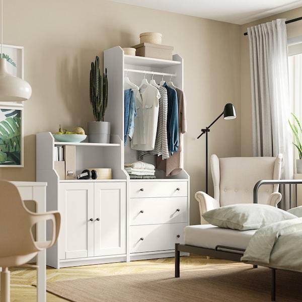 HAUGA Storage combination, white, 139x46x199 cm
