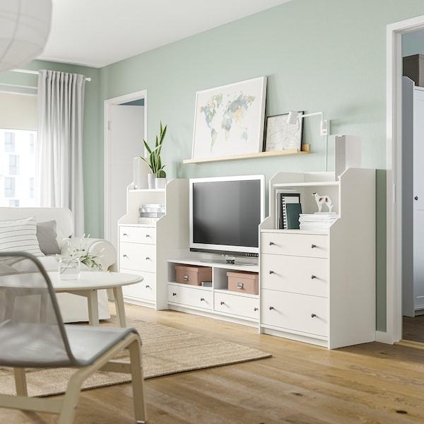HAUGA TV/storage combination, white, 277x46x116 cm