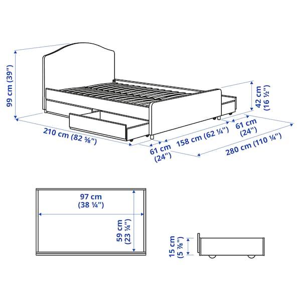 HAUGA Upholstered bed, 4 storage boxes, Vissle grey, Standard King