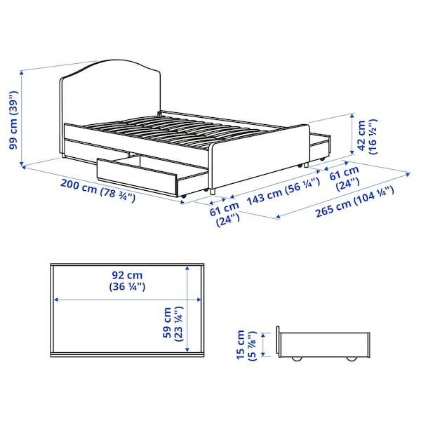 HAUGA Upholstered bed, 4 storage boxes, Vissle grey, Standard Double