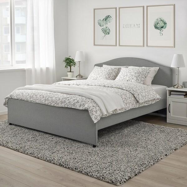 HAUGA Upholstered bed frame, Vissle grey, Standard Double