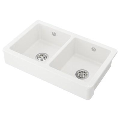 HAVSEN sink bowl, 2 bowls w visible front white 42.4 cm 76.5 cm 19 cm 35 cm 40 cm 26.6 l 19 cm 35 cm 40 cm 26.6 l 48 cm 82 cm 82 cm 48 cm