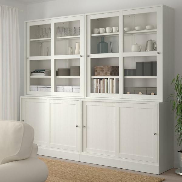 HAVSTA Storage comb w sliding glass doors, white, 242x47x212 cm