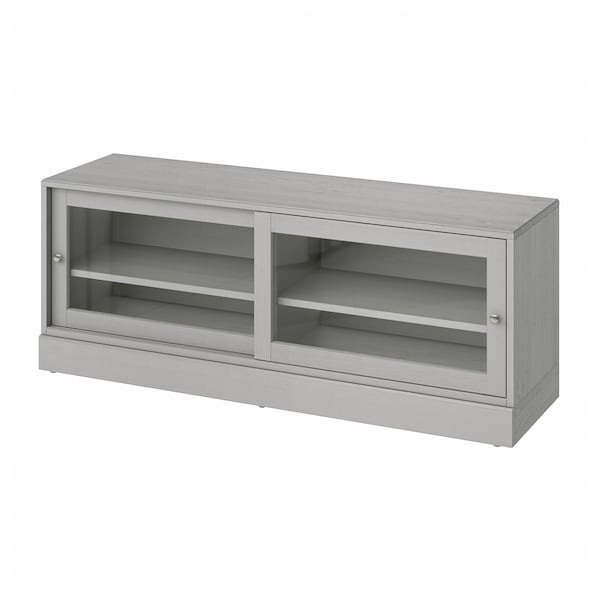 HAVSTA TV bench with plinth, grey, 160x47x62 cm