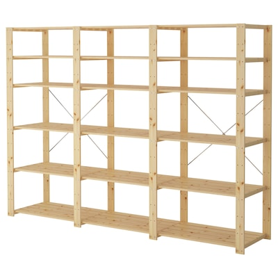 HEJNE 3 sections/shelves, softwood, 230x50x171 cm