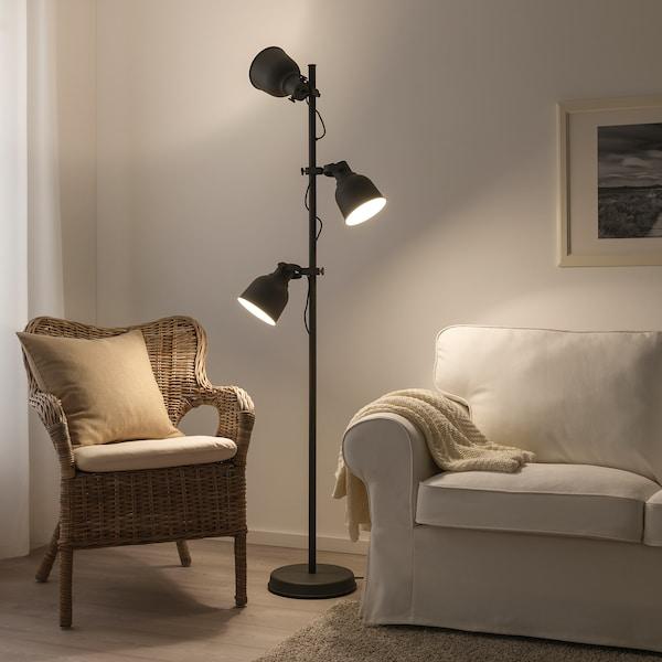 HEKTAR Floor lamp with 3-spot, dark grey