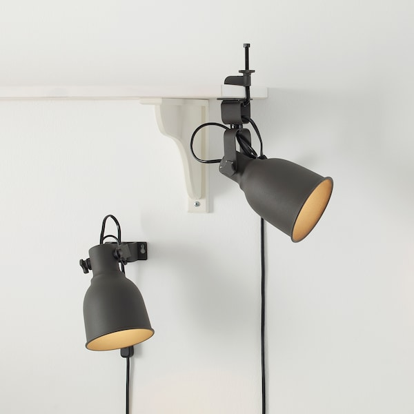 HEKTAR Wall/clamp spotlight, dark grey