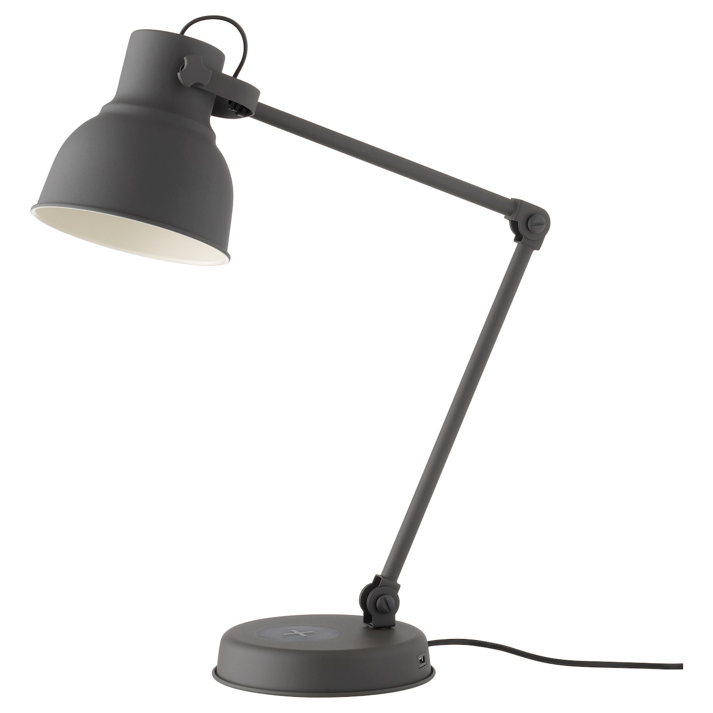 IKEA HEKTAR work lamp with wireless charging Provides a directed light that is great for reading.