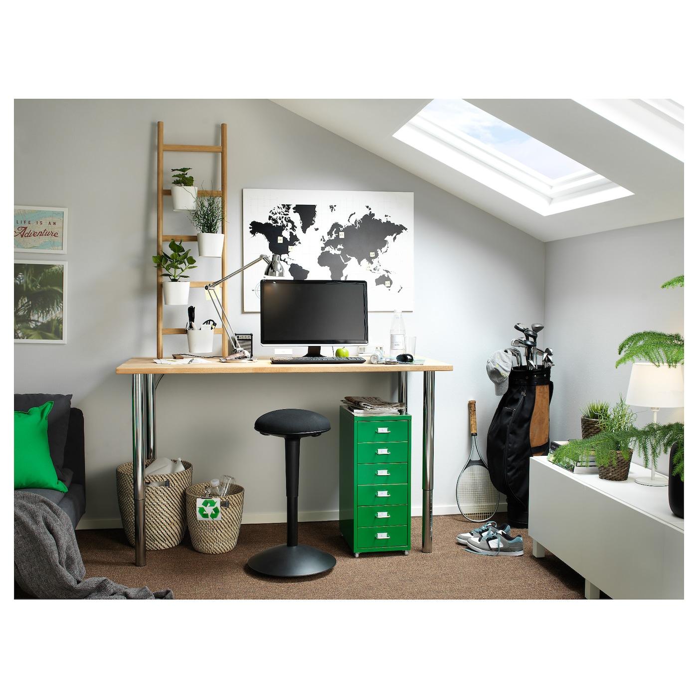 Ikea Ikea Stenstorp Wood Chrome And Black: HELMER Drawer Unit On Castors Green 28x69 Cm