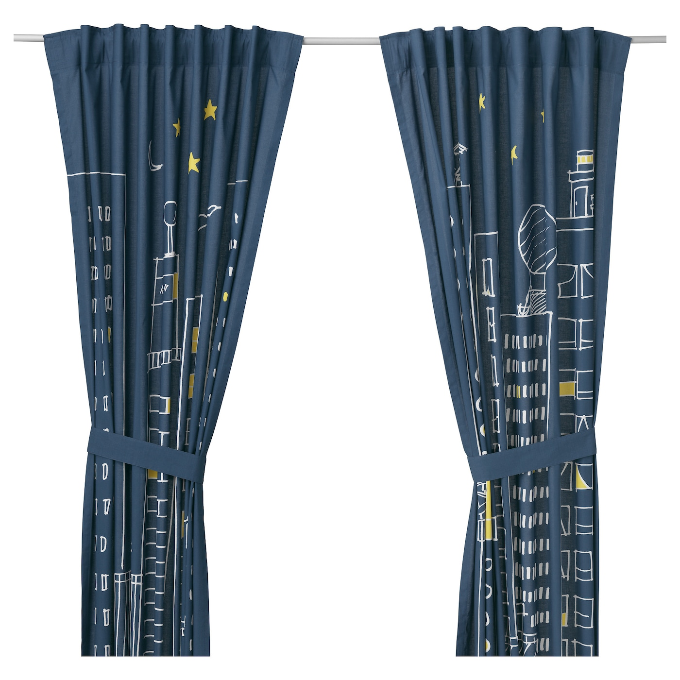 IKEA HEMMAHOS curtains with tie-backs, 1 pair